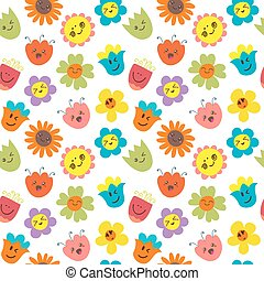 Seamless pattern with funny and happy flowers. Cute cartoon background