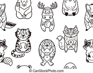 Seamless pattern with funny animals in cartoon. Vector illustration