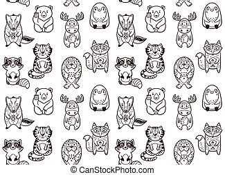 Seamless Pattern With Funny Animals In Cartoon Vector Illustration