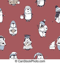 Seamless pattern with funny baby penguins wearing various...