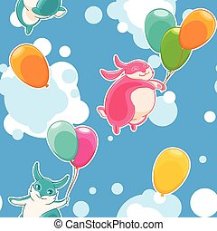Seamless pattern with funny bunnies on a background of clouds and blue sky.