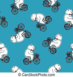 Seamless pattern with funny cartoon circus bear wearing bow tie and riding bicycle with front basket full of red tulip flowers on blue background. Hand drawn vector illustration for textile print.
