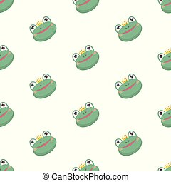 Seamless pattern with funny cartoon frogs.