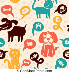 seamless pattern with funny cats and dogs - Vector cartoon...