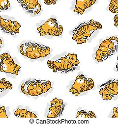 Seamless pattern with funny cats. Vector illustration