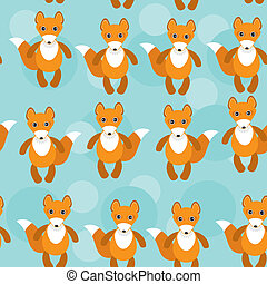 Seamless pattern with funny cute fox animal on a blue background