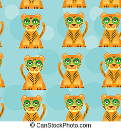 Seamless pattern with funny cute jaguar animal on a blue backgro