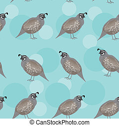 Seamless pattern with funny cute quail bird on a blue background