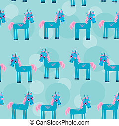 Seamless pattern with funny cute unicorn animal on a blue backgr