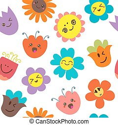 Seamless pattern with funny flowers. Cute floral background