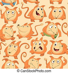 Seamless pattern with funny fox expressing various emotions in different poses. Happy, angry, smart, sad, cunning cartoon character against orange background. Vector illustration for wrapping paper.