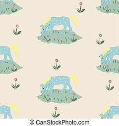 Seamless pattern with funny hand drawn blue horse with stain