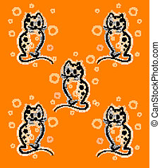 seamless pattern with funny kittens on the orange background  for children design