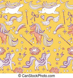 Seamless pattern with funny magic elements. Unicorn, wizard...