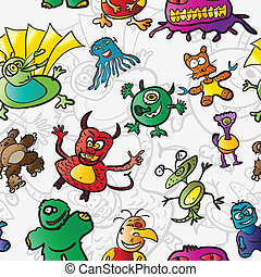 Seamless pattern with funny monster