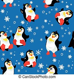 Seamless pattern with funny penguins and snowflakes on blue back