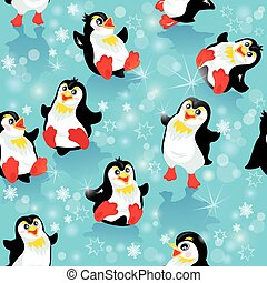 Seamless pattern with funny penguins and snowflakes on blue icy