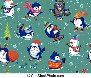 Seamless pattern with funny penguins isolated on green background