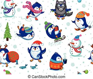 Seamless pattern with funny penguins isolated on white background