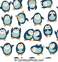Seamless pattern with funny penguins - Seamless cartoon...