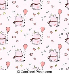 Seamless pattern with funny pig ,