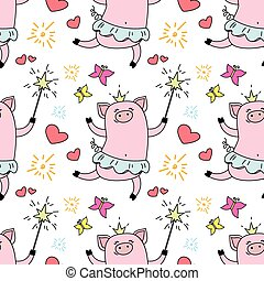 Seamless pattern with funny piggy princess,