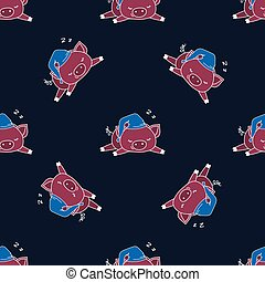 Seamless pattern with funny sleep pig,