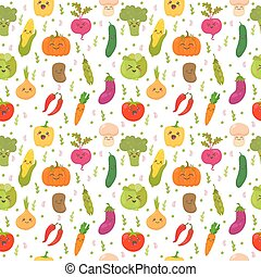 Seamless pattern with funny vegetables. Cute background. Happy vegetables
