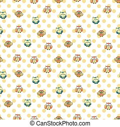 Seamless Pattern with Furry Doodle Owls.