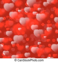 Seamless pattern with fuzzy hearts on red background. Vector illustration