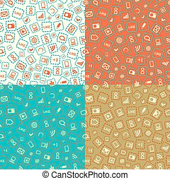 Seamless Pattern with Gadgets and Media Signs