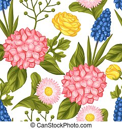 Seamless pattern with garden flowers. Decorative hortense, ...