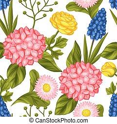 Seamless pattern with garden flowers. Decorative hortense,...