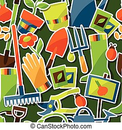 Seamless pattern with garden sticker design elements and...