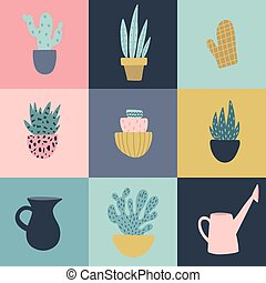 Seamless pattern with garden tools and flower pots.