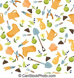 Seamless pattern with garden tools on a white background. Vector graphics.