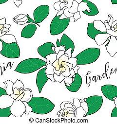 Seamless pattern with Gardenia jasminoides, cape jasmine, danh-danh.