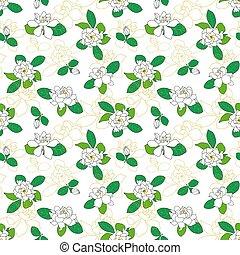 Seamless pattern with Gardenia jasminoides, cape jasmine, ...