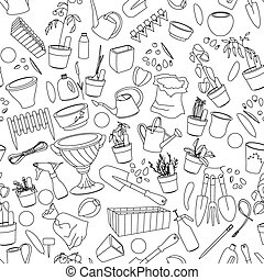 Seamless pattern with gardening tools, flower pots, herbs and vegetables.