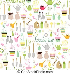 Seamless pattern with gardening tools, flower pots, herbs and vegetables. Endless texture for your design, advertisement, posters.