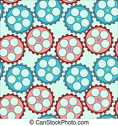 Seamless pattern with gears in green background