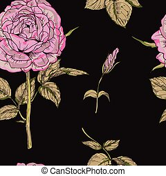 Seamless pattern with gently pink rose flower isolated on black background. Vector illustration.
