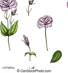 Seamless pattern with gently pink rose flower isolated on white background. Vector illustration.