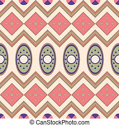 Seamless pattern with geometrical motives in the African style.
