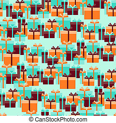 Seamless pattern with gift boxes in retro style.