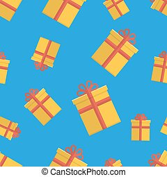 Seamless pattern with gift boxes on blue