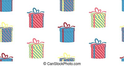 Seamless pattern with gift boxes on white background. Vector.