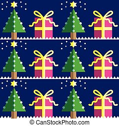 Seamless pattern with gifts, trees