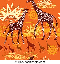 Seamless pattern with Giraffes