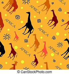 Seamless pattern with giraffes on yellow background